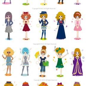 mixiアプリ「益若つばさ診断」キャラクターイラスト